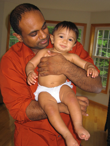 Kali Soleil Athukorala and her dad at their home in Massachusetts in June 2008